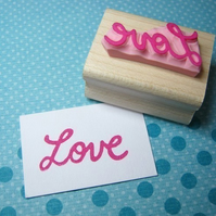 Retro Love - Hand Carved Rubber Stamp