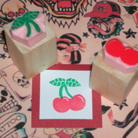 Mini Cherry Hand carved rubber stamps