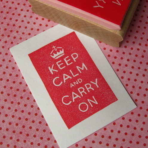 Keep Calm and Carry On - Hand Carved Rubber Stamp
