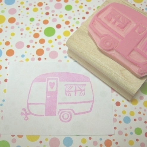 Little Caravan of Love - Hand carved rubber stamp