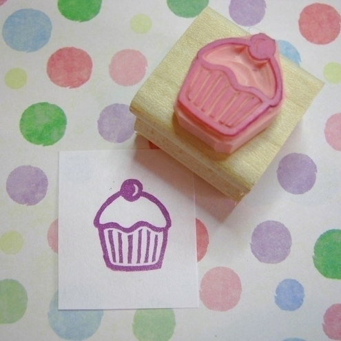 Mini Cupcake with a cherry on top - hand carved rubber stamp