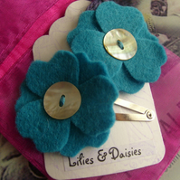 Teal Felt Flower Hair Slides