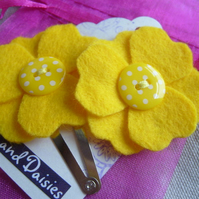 Pair of Yellow Felt Flower Hair Slides