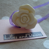 Cream rose cabochon ring, vintage glamour