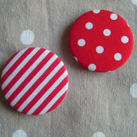 2 retro red polka dot and stripe fabric pin badges
