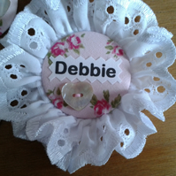 Custom fabric & button printed hen wedding ROSETTE badge