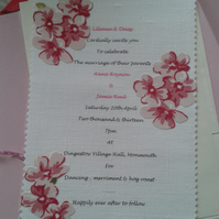 Handmade Linen Fabric Floral Wedding Invitations