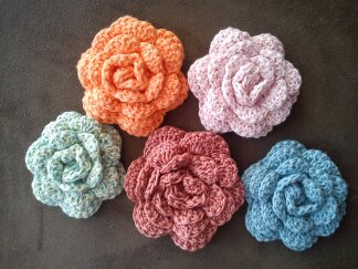 Crochet Cotton Flower Corsage Brooch Pin - choice of colour