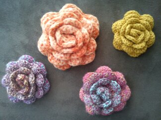 Crocheted Corsage Brooch Pin Wool Blend