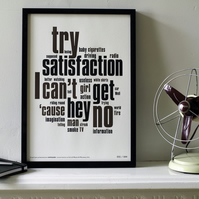 The Rolling Stones -Satisfaction Distilled. Limited Edition Letterpress A3 Print