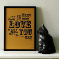 The Beatles - All You Need Is Love Distilled. Limited Edition Letterpress Print