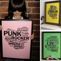 The Punk Collection of Letterpress Prints: The Sex Pistols, Clash &  Ramones.
