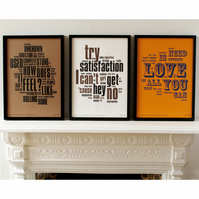 The 1960's Collection of Letterpress Prints: The Beatles, Dylan & The Stones.