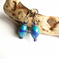 Blue sky, blue and silver polymer clay earrings