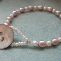 Pink and White Freshwater Pearl Bracelet