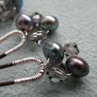 Crystal and Freshwater Pearl Hairpins ~ Set of 6