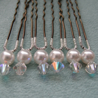 Crystal and Pearl Hairpins ~ Set of 6