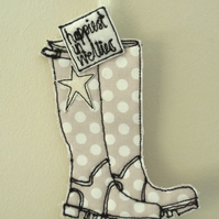'Happiest in Wellies' - Hanging Decoration