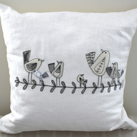 White Linen Cushion with Standing Birdies