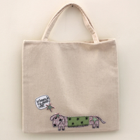 Lined Mini Tote Bag with Mr Sausage dog in a Green Coat