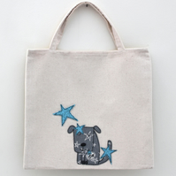Lined Mini Tote Bag with Star Doggie