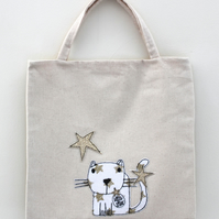 Lined Mini Tote Bag with 'Little Star' Cat