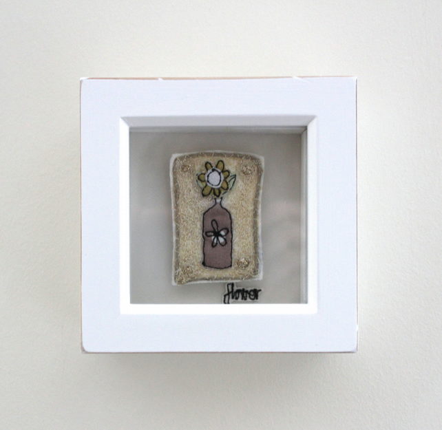 'Flower in a Bottle' - Framed Textile