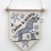 'I believe in unicorns' in Silvers Textile Banner