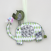 'Mr Elephant, you are lovely' Hanging Fabric Decoration
