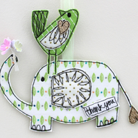 'Mr Elephant, Thank you' Hanging Fabric Decoration