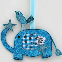 'Mr Elephant, little star' Hanging Fabric Decoration