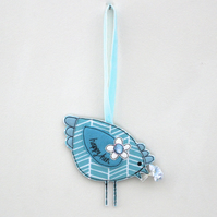 'Happy Hen' in Blues - Hanging Decoration