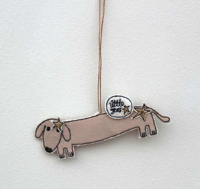 'Little Star Mr Sausage Dog' - Hanging Decoration