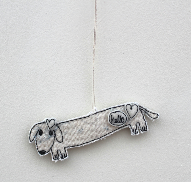 'Hello Mr Sausage Dog' - Hanging Decoration