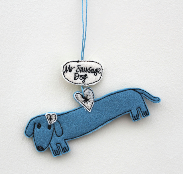 'Mr Sausage Dog' - Hanging Decoration
