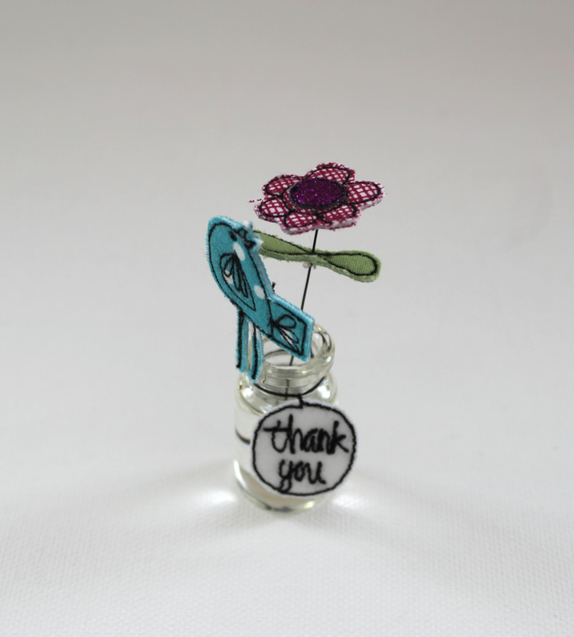 'Thank you' Flower in a Bottle with a Birdie