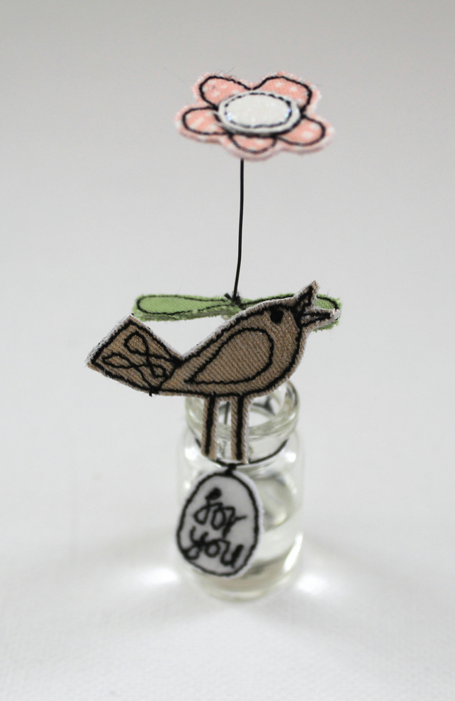 'For you' Flower in a Bottle with a Birdie