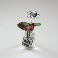 'With love' Flower in a Bottle with a Birdie