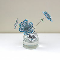 'Flowers and a Butterfly' in a Bottle - for you, with love