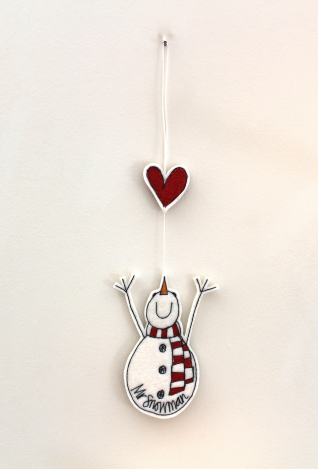 Mr Snowman Reaching for a Heart - Hanging Decoration