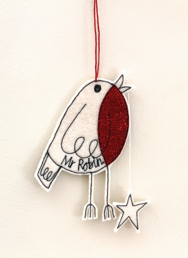 Mr Robin is holding a Star - Hanging Decoration