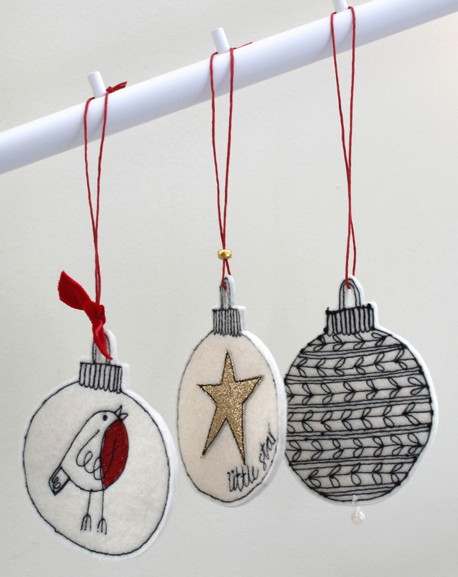 Three Wool Felt Christmas Baubles - Hanging Decorations