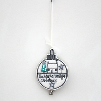 Personalised Wool Felt Christmas Bauble - Hanging Decorations
