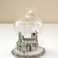 Special Order for H.G - 'Home for Christams' - Glass Dome Decoration