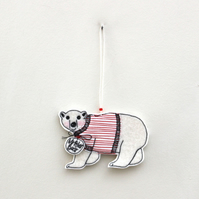 'Mr Polar Bear is wearing a Jumper' - Hanging Decoration