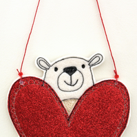 Mr Polar Bear Holding a Heart - Hanging Decoration