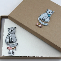 'Kitty Cat' - A Box of Six Postcards with Envelopes