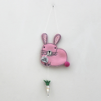 'Pink Rabbit loves Carrots' - Hanging Decoration
