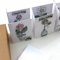 'Happy Birthday Flowers' - A Box of Six Cards with Envelopes