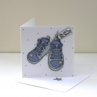 'Little feet in Little Shoes' - Handmade New Baby Card